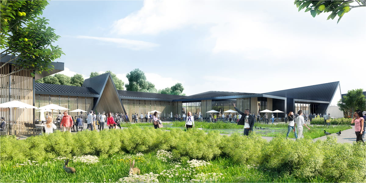 Centre commercial + ferme pédagogique par Wilmotte & Associés
